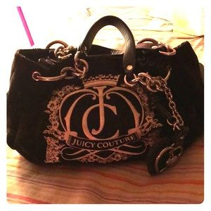 Velour black hand bag
